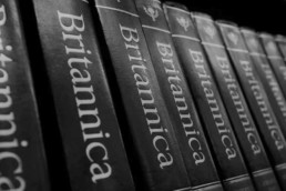 Photo of volumes of the Encyclopaedia Britannica