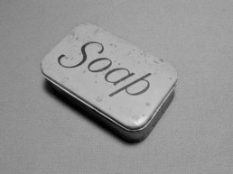 Vintage photo of a tin marked soap