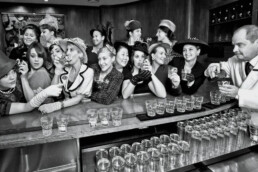 Vintage photo of women at a bar