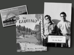 Image of a postcard of Runcorn, the book The Gruffalo and the book On the Road