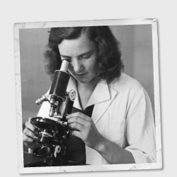 Vintage image of a female scientist looking into a microscope