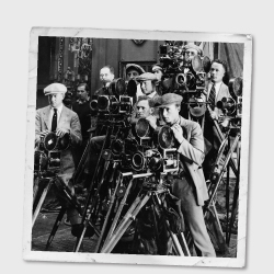 Vintage photo of a crowd of photographers