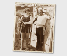 Vintage photo of a male and female knife throwing act